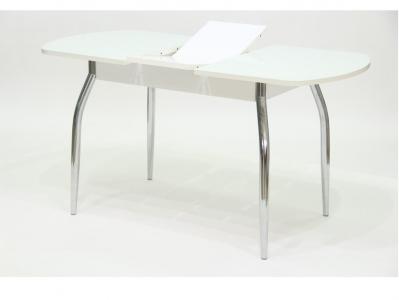 Стол Гала 1 лдсп белое + стекло белое