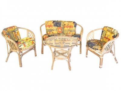 Комплект Багама с диваном натуральный подушки цветные