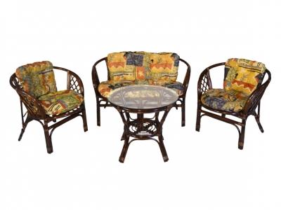 Комплект Багама с диваном темно-коричневый подушки цветные