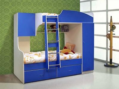Кровать двухъярусная №4 синяя