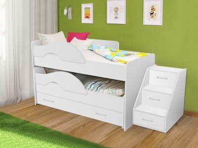 Кровать выкатная Радуга с ящиками и лестницей белая
