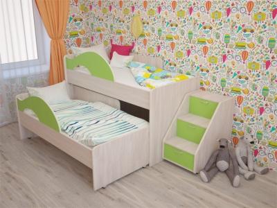 Кровать выкатная Радуга с лесенкой дуб-зеленый