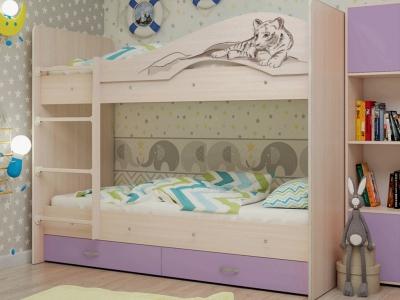 Кровать двухъярусная Мая-Сафари с ящиками дуб-ирис