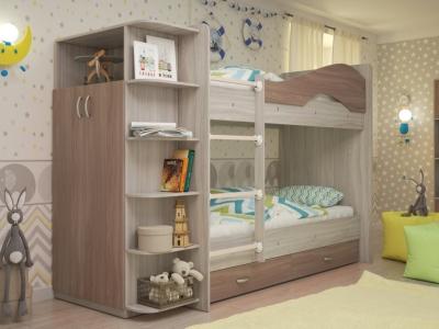 Кровать двухъярусная Мая со шкафом и ящиками ясень шимо