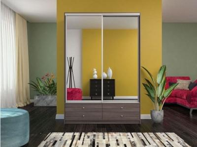Шкаф-купе Ольга с двумя зеркалами бодега темная